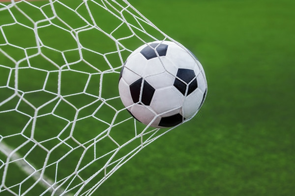 soccer ball in goal with green grass background
