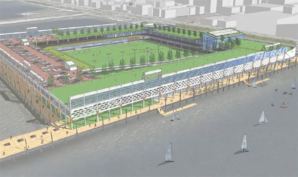 Rendering of Pier 40 Partnership's vision of Pier 40