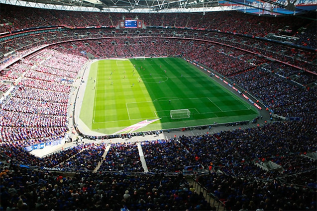 Wembley Stadium during a soccer match