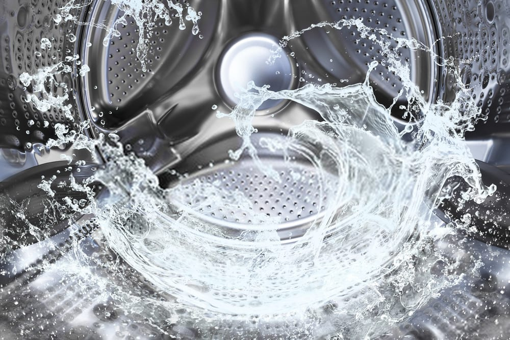 water splash of the washing machine drum